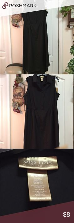 Like new hi low black dress Miss Tina, size XL Like new hi low dress, 100% polyester by Miss Tina, Tina Knowles. Size XLarge. Long dress with a hi low bottom and sleeveless that buttons down to the waist. Lost the belt. Dress came from Walmart thus the low price but really cute. Dresses High Low