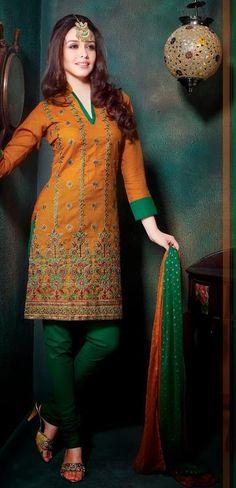 Orange A Line Embroidery Cotton Casual Wear Churidar Salwar Suit