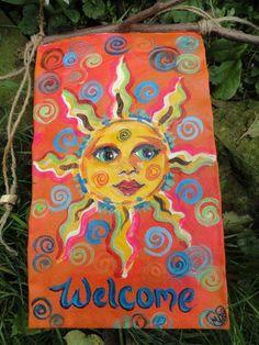Image result for painted sun folk art