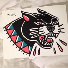 productive morning. (all paintings/originals for sale, pm me if interested) #blackcougar #panther #panthers #painting #traditional #tattoo #tattooflash #flash #oxykitten #miau