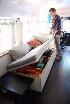 As the tiny house movement grows, so does the need for storage. The trick to getting the most out of your space when there's little to begin with is getting creative and rethinking the purpose of the everyday elements of your home. Here are a few clever tips from Julie that work whether you live on a bus or not! Tiny House Storage, Camper Storage, Storage Hacks, Diy Storage, Storage Ideas, Hidden Storage, Book Storage, Organization Ideas, Clothing Organization