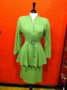 40s Gorgeous Green Wool Peplum Fitted Suit by THEGIRLCANTHELPITUSA, $369.00
