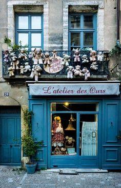 Solve L'atelier des Ours (Teddybear Workshop), Uzes, Gard, Francel jigsaw puzzle online with 77 pieces Fancy Shop, Shop Facade, Cafe Shop, Shop Fronts, Store Windows, Lovely Shop, France, Facade Design, Boutiques
