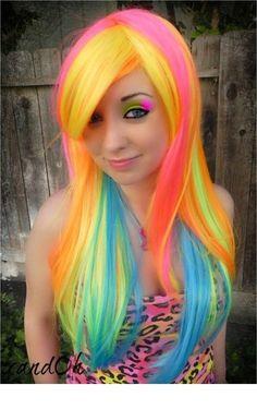 Rainbow Hair Colors that Glow in the Dark! - New Hair Design Ombré Hair, Hair Art, Dye Hair, Blonde Hair, Funky Hairstyles, Pretty Hairstyles, Rainbow Hairstyles, Peach Hair Colors, Hair Colours