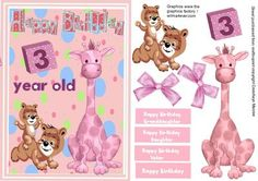 Happy Birthday 3year old Girl on Craftsuprint designed by Ceredwyn Macrae - A lovely card front for a little girl on her 3rd birthday has a giraffe and teddy bears also has four greeting tags for ypou to choose the greeting  - Now available for download!