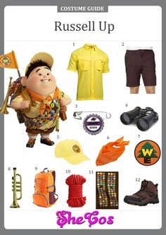 Complete Guide To Russell Up Costume Brown Shorts, Yellow Shorts, Russell Up Costume, Pixar Animated Movies, Carl Fredricksen, Dark Brown Shoes, Red Rope, Orange Scarf, Up Costumes