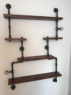 Custom made Wall Units Rustic Floating Shelves made from Reclaimed Wood Shelf and Industrial Pipe Industrial chic Steampunk Hampton Pipe Furniture, Dining Room Furniture, Industrial Furniture, Furniture Ideas, Floating Shelves Bathroom, Rustic Floating Shelves, Bedroom Shelves, Industrial Pipe Shelves, Wood Shelves