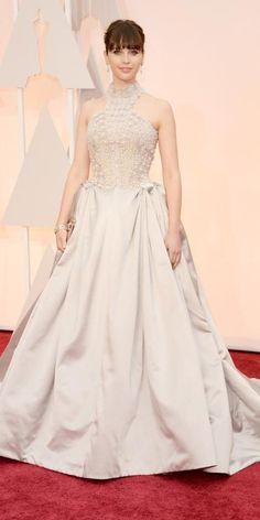Academy Awards 2015 Red Carpet Arrivals - Felicity Jones from #InStyle in Alexander McQueen