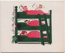 Vintage Greeting Card Christmas Four Children Norcross Bunk Bed e480