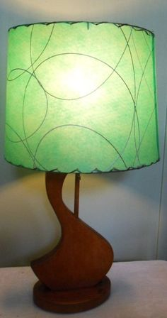MCM lamp w green fiberglass shade - Etsy