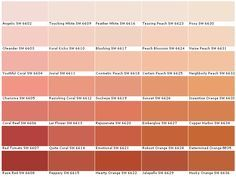 Sherwin Williams SW6602 Angelic SW6603 Oleander SW6604 Youthful Coral SW6605 Charisma SW6606 Coral Reef SW6607 Red Tomato SW6608 Rave Red SW6609 Touching White SW6610 Koral Kicks SW6611 Jovial SW6612 Ravishing Coral SW6613 Lei Flower SW6614 Quite Coral SW6615 Peppery SW6616 Feather White SW6617 Blushing SW6618 Cosmetic Peach SW6619 Sockeye