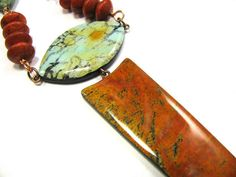 Polymer Clay Necklace - Fabulous Faux Collection -  Xochiquetzal Faux Turquoise and Fire Agate Necklace on Etsy, $65.00