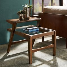 Amazon.com: Mid Century Modern Retro Wood 2 Level Accent End Side Table with Glass Top in Pecan Finish: Home & Kitchen