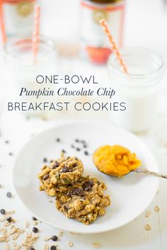 A one-bowl, make-ahead wonder, One-Bowl Pumpkin Chocolate Chip Breakfast Cookies are easy to make and perfect for a quick breakfast or snack. Naturally sweetened, gluten-free, and dairy-free, too!