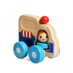 Ambulance met dokter, blauw, rubberhout