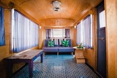 Rehabbed Trailers Make Up This Quirky New Mexico Hotel   Hunker Vintage Caravans, Vintage Trailers, Mobile Home Makeovers, Painting Bathtub, Mobile Home Decorating, Modern Staircase, Floor Patterns, Basement Remodeling, Bathroom Remodeling