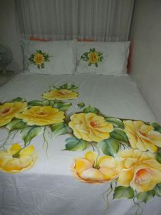 Hand Painted Dress, Painted Clothes, Fabric Painting On Clothes, Bed Sheet Painting Design, Sheet Curtains, Bed Cover Design, Designer Bed Sheets, Textile Dyeing, Sunflower Quilts
