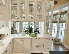 Glass Kitchen Cabinet Doors, White Kitchen Cabinets, Kitchen Cabinet Design, Modern Kitchen Design, Glass Doors, Glass Cabinets, Cabinet Space, Kitchen Designs, Kitchen Ideas