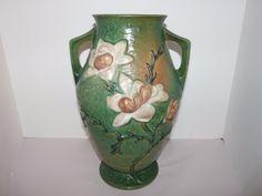 "Large Roseville Pottery Magnolia 14 1/4"" Floor Vase #97-14 Green  #1414vase"