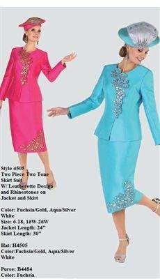 "Tally Taylor 4505 2 piece Skirt Suit Colors: Fuchsia/Gold, Aqua/Silver, White Jacket Length: 24"" Skirt Length: 30"" Sizes: 6, 8, 10, 12, 14, 16, 16W, 18, 18W, 20W, 22W, 24W, 26W Hat: H4505 Purse: B4484 Fuchsia"