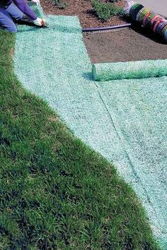 Having trouble growing grass? Well, with a QuickGrass® Pro Erosion Control Blanket, you can cover 140 total square feet with crisp, green grass. Embedded with grass seed, this biodegradable mesh blanket will produce lush landscaping with minimal assistanc Hillside Landscaping, Outdoor Landscaping, Outdoor Gardens, Landscaping Ideas, Outdoor Decor, Green Lawn, Green Grass, Green Garden, Reseeding Lawn