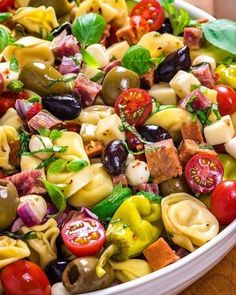 Antipasto Tortellini Pasta Salad - Host The Toast - Antipasto Tortellini Pasta Salad. This packed potluck favorite includes multiple cheeses, meats, olives, peppers, and more to create a hearty Italian-inspired summer side dish. Pasta Salad With Tortellini, Tortellini Recipes, Veggie Pasta Salads, Salads With Meat, Salads For Bbq, Shell Pasta Salads, Pasta Salad Recipes Cold, Vegetable Salads, Healthy Pasta Salad