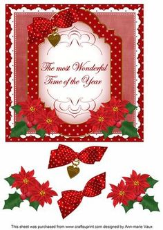 Red Poinsettia Wonderful Time Fancy 7in Decoupage Topper on Craftsuprint - Add To Basket!