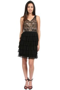 1920s style flapper or great gatsby dress: Sue Wong Tiered Skirt Embroidered Dress in Black