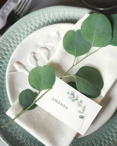 DIY greenery wedding place cards featuring watercolor eucalyptus branch illustration and an elegant font. With this template you can easily customize design, change background, edit text, add table number and more. Diy Name Cards, Wedding Name Cards, Wedding Table Names, Cards Diy, Wedding Invitation Etiquette, Wedding Invitation Inspiration, Wedding Stationery, Wedding Mint Green, Sage Wedding