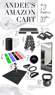Everything in My Home Gym - Andee Layne Home Gym Basement, Home Gym Garage, Diy Home Gym, Gym Room At Home, Home Gym Decor, Workout Nook, Workout Room Decor, Workout Room Home, Small Home Gyms
