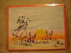 watercolored the sunset then stamped girl on acetate.