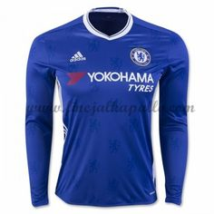 Chelsea will bring a new look to the field in home blue jersey has a white v-neck collar. The front panel has the Chelsea lion printed on the front an. Chelsea Fc, Chelsea 2016, Chelsea Soccer, Chelsea Blue, British Premier League, Premier League Soccer, Liga Premier, Jersey Atletico Madrid, Moda Masculina