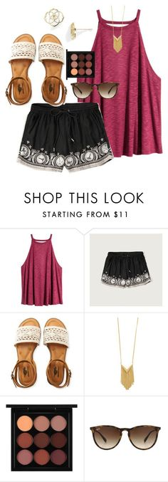 """Starbucks would be great right now!"" by preppy-southern-girl88 ❤ liked on Polyvore featuring H&M, Abercrombie & Fitch, Aéropostale, Sam Edelman, MAC Cosmetics, Ray-Ban and Kendra Scott"