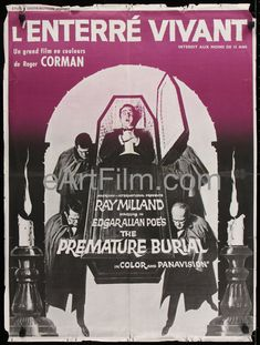 Happy Birthday #EdgarAllanPoe https://eartfilm.com/search?q=edgar+allan+poe #writers #writing #horror #macabre #detective #BlackCat #PrematureBurial #movie #movies #poster #posters #film #cinema #movieposter #movieposters    Premature Burial-Edgar Allan Poe-Roger Corman-Ray Milland-French-24x32-1968