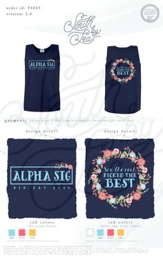 Alpha Sigma Alpha   Alpha Sig   Bid Day Tee Shirt Inspiration   Alpha Sig Bid Day Tanks   Flower Wreath Shirt Design   South by Sea   Sorority Shirts   Sorority Tanks   Greek Shirts