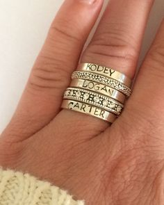 Custom name ring Sterling silver stacking ring by smmade on Etsy 2 custom rings with 1 spacer- one for clarence's name and the other with baby's