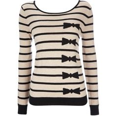Stone Bow And Stripe Jumper ($35) ❤ liked on Polyvore featuring tops, sweaters, shirts, long sleeves, stone, stripe sweater, pink shirt, striped sweater, long sleeve jumper and long sleeve stripe shirt