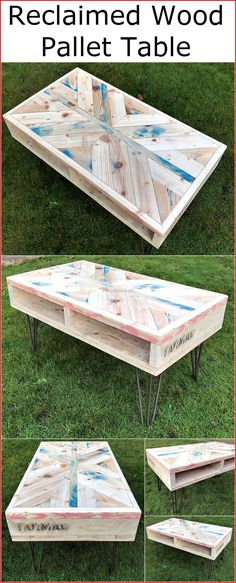 You can see the reclaimed Wood Pallet Table which is looking nice and it will enhance the beauty of the room in which it is placed. Wooden Pallet Beds, Wooden Pallet Crafts, Wood Pallet Tables, Pallet Furniture, Pallet Wood, Furniture Ideas, Home Decor Sites, Home Decor Catalogs, Home Depot Christmas Decorations