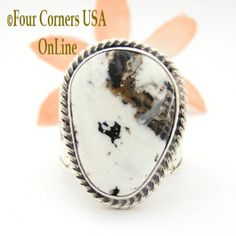 Four Corners USA Online - Size 9 White Buffalo Turquoise Ring Navajo Freddy Charley American Indian Silver Jewelry NAR-1623, $235.00 (http://stores.fourcornersusaonline.com/size-9-white-buffalo-turquoise-ring-navajo-freddy-charley-american-indian-silver-jewelry-nar-1623/)