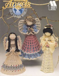 PURCHASED pattern - CROCHET - Angels Around the World ~ intermediate level ~ stitch 8 beautiful angels from around the world ~ use size 10 crochet cotton ~ written instructions and helpful illustrations. Thread Crochet, Crochet Crafts, Crochet Projects, Free Crochet, Crochet Books, Christmas Angel Ornaments, Christmas Crafts, Merry Christmas, Christmas Bells