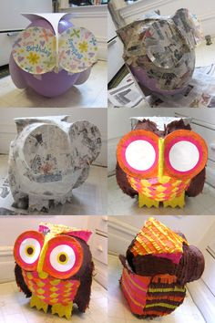 1000 images about pi atas on pinterest olaf pinata for Diy paper mache owl