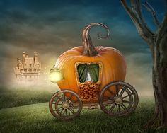 Orange Pumpkin Carriage Backdrop castle by BestBackdropCenter
