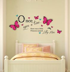 Personalized Name Once Upon a Time Princess Wall Art Decal Sticker u0026 Personalised Butterflies Girls Bedroom W x H  sc 1 st  Pinterest & Personalised Name Once Upon a Time Princess - Wall Art Sticker ...
