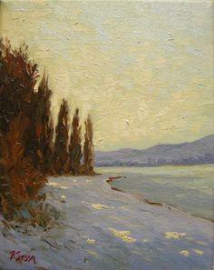Original Oil Painting winter scene by Francesco Sessa