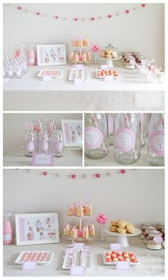 """Girl's 1st birthday shower - dessert table featuring cupcakes with whipped buttercream frosting (in little jars), vanilla whoopie pies with lemon cream cheese filling, iced sugar cookies, cream + pink vanilla macarons, oreo pops dipped in white chocolate, a mini candy bar and polka dot cookie take + bake jars for our guests to bring home. Mini glass milk bottles with pink polka dot straws also featured a little """"Chloe is 1"""" sticker on the front and were finished off with some twine tied…"""