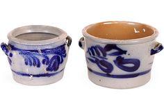 Set of two Danish salt glaze pottery pieces, circa 1950.