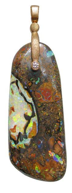 """Alex Sepkus """"Sticks and Stones"""" pendant, 18KR, 34.60 ct Australian """"Yowah"""" Boulder Opal"""