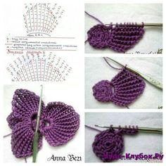 Big crochet poppy free pattern step by step Crochet Poppy Free Pattern, Crochet Butterfly Pattern, Crochet Flower Tutorial, Crochet Diagram, Freeform Crochet, Tunisian Crochet, Irish Crochet, Crochet Motif, Crochet Designs