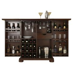 crosley furniture alexandria expandable bar cabinet in vintage mahogany finish alternative view