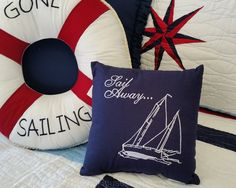 Sail Away Embroidered Toss Pillow